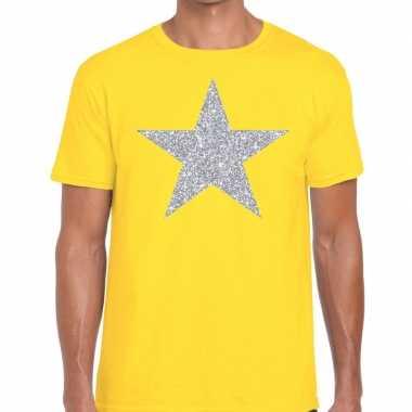 Zilveren ster glitter fun t shirt geel heren