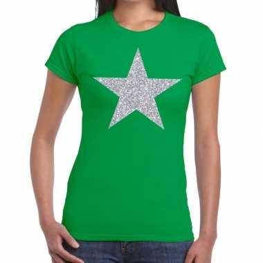 Zilveren ster glitter fun t shirt groen dames