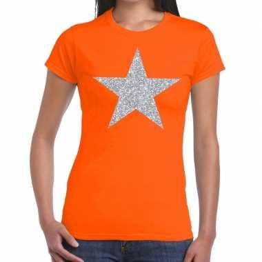 Zilveren ster glitter fun t shirt oranje dames