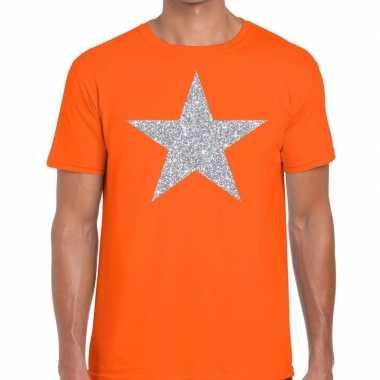 Zilveren ster glitter fun t shirt oranje heren