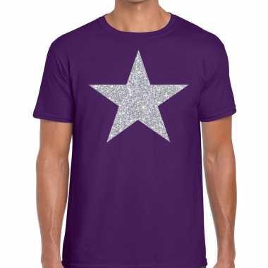 Zilveren ster glitter fun t shirt paars heren