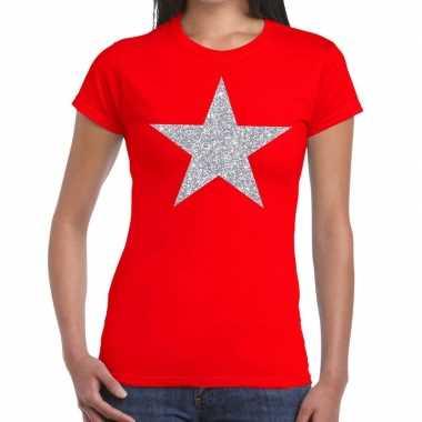 Zilveren ster glitter fun t shirt rood dames