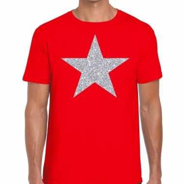 Zilveren ster glitter fun t shirt rood heren