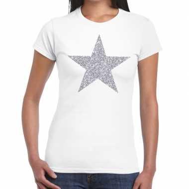 Zilveren ster glitter fun t shirt wit dames