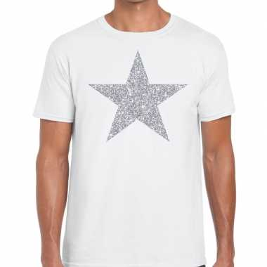 Zilveren ster glitter fun t shirt wit heren