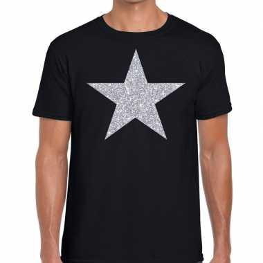 Zilveren ster glitter fun t shirt zwart heren
