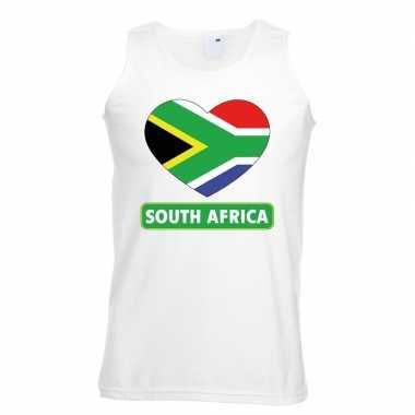 Zuid afrika hart vlag mouwloos shirt wit heren