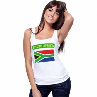 Zuid afrika vlag mouwloos shirt wit dames
