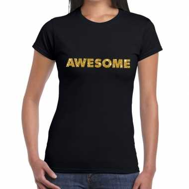 Zwart awesome goud fun t shirt dames