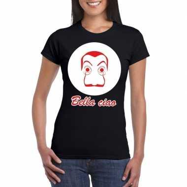 Zwart bankovervaller t-shirt dames
