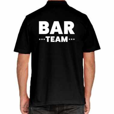 Zwart bar team polo t shirt heren