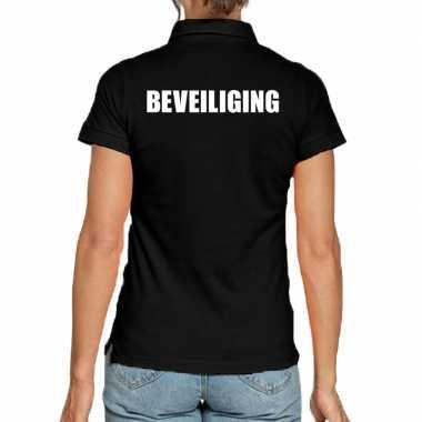 Zwart beveiliging polo t shirt dames