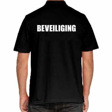 Zwart beveiliging polo t shirt heren