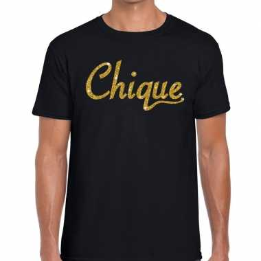 Zwart chique goud fun t shirt heren