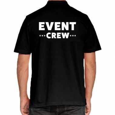 Zwart event crew polo t shirt heren