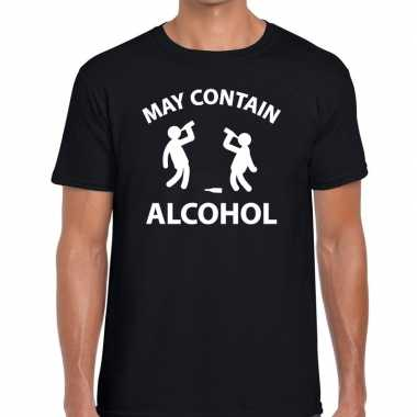 Zwart fun shirt may contain alcohol heren