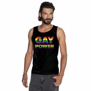 Zwart gay power pride tanktop / mouwloos shirt heren
