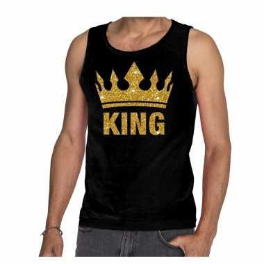 Zwart king gouden glitter kroon mouwloos shirt heren
