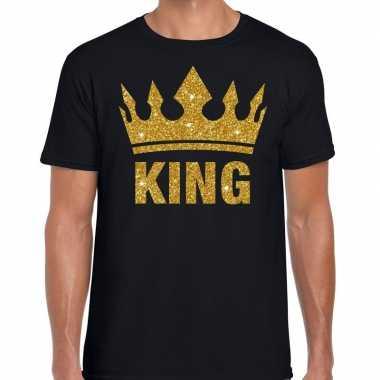 Zwart king gouden glitter kroon t shirt heren