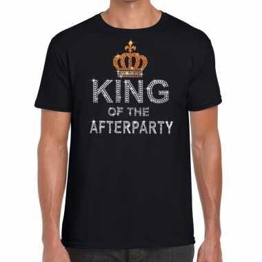 Zwart king of the afterparty glitter steentjes t shirt heren