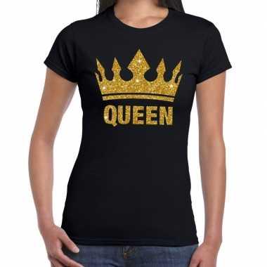 Zwart koningdag queen shirt gouden glitters kroon dames