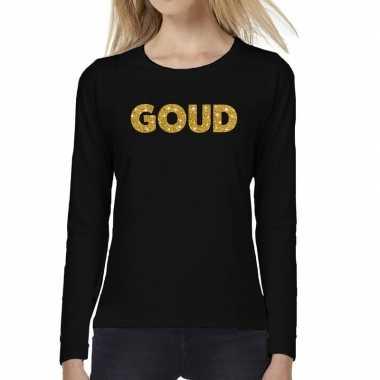 Zwart long sleeve t shirt goud tekst bedrukking dames