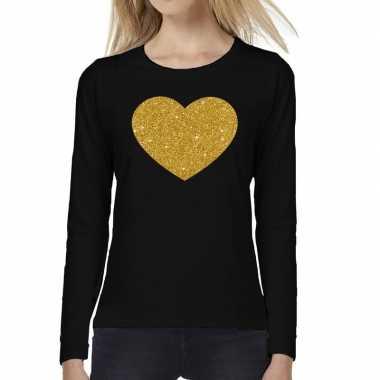Zwart long sleeve t shirt gouden hart dames