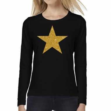 Zwart long sleeve t shirt gouden ster dames