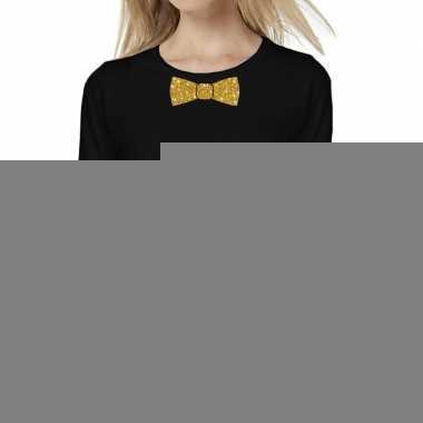 Zwart long sleeve t shirt gouden strikdas dames