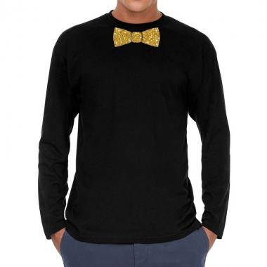 Zwart long sleeve t shirt gouden strikdas heren