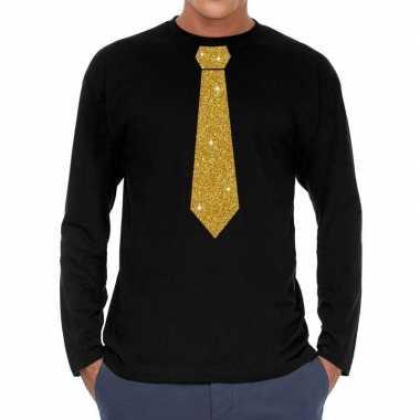 Zwart long sleeve t shirt gouden stropdas heren