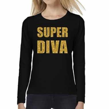 Zwart long sleeve t shirt gouden super diva tekst dames