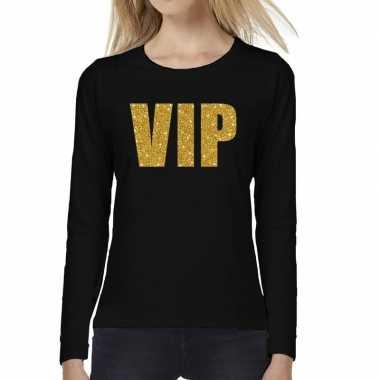 Zwart long sleeve t shirt gouden vip tekst dames