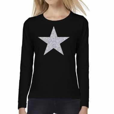Zwart long sleeve t shirt zilveren ster dames