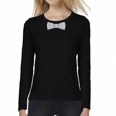 Zwart long sleeve t-shirt zilveren strikdas dames