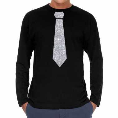 Zwart long sleeve t shirt zilveren stropdas heren