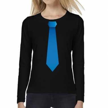Zwart long sleeve t shirt zwart blauwe stropdas bedrukking dames