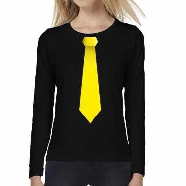 Zwart long sleeve t shirt zwart gele stropdas bedrukking dames