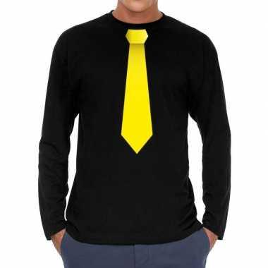 Zwart long sleeve t shirt zwart gele stropdas bedrukking heren