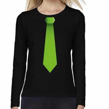 Zwart long sleeve t shirt zwart groene stropdas bedrukking dames