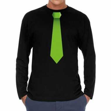 Zwart long sleeve t shirt zwart groene stropdas bedrukking heren