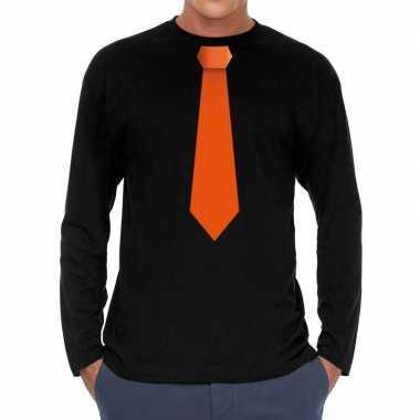 Zwart long sleeve t shirt zwart oranje stropdas bedrukking heren