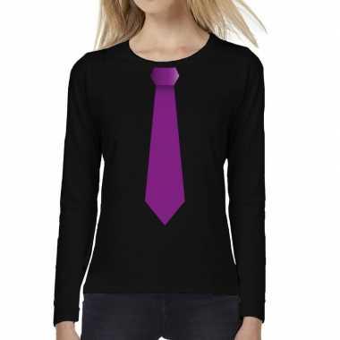 Zwart long sleeve t shirt zwart paarse stropdas bedrukking dames