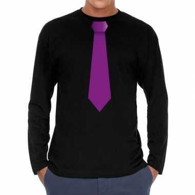 Zwart long sleeve t shirt zwart paarse stropdas bedrukking heren