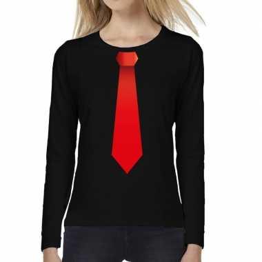 Zwart long sleeve t shirt zwart rode stropdas bedrukking dames