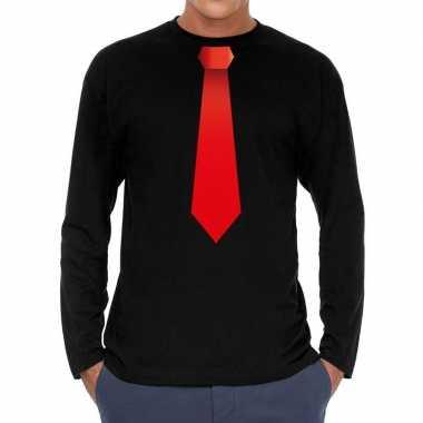 Zwart long sleeve t shirt zwart rode stropdas bedrukking heren