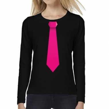 Zwart long sleeve t shirt zwart roze stropdas bedrukking dames