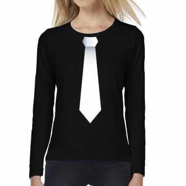 Zwart long sleeve t shirt zwart witte stropdas bedrukking dames
