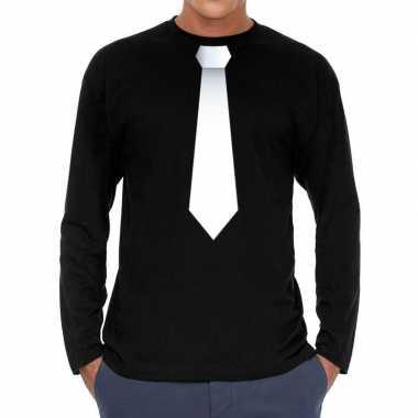 Zwart long sleeve t shirt zwart witte stropdas bedrukking heren