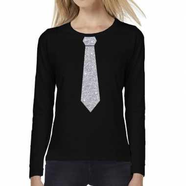 Zwart long sleeve t shirt zwart zilveren glitter stropdas bedrukking